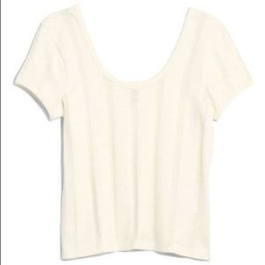 Madewell Ivory Ribbed Pointelle Top